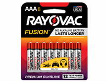 Rayovac Fusion 824-8CT AAA 1.5V Alkaline Button Top Batteries - 8 Piece Retail Card
