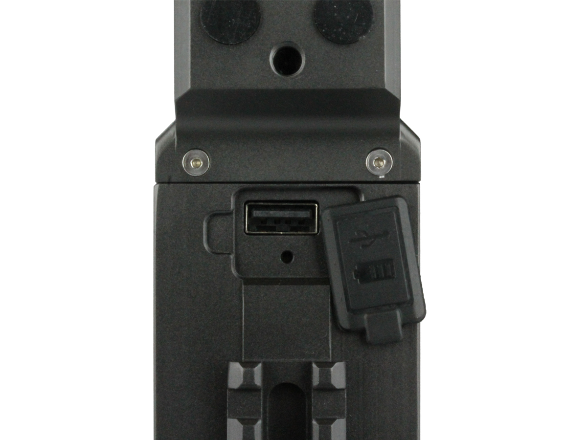 Close up of USB port for JETBeam T8 searchlight
