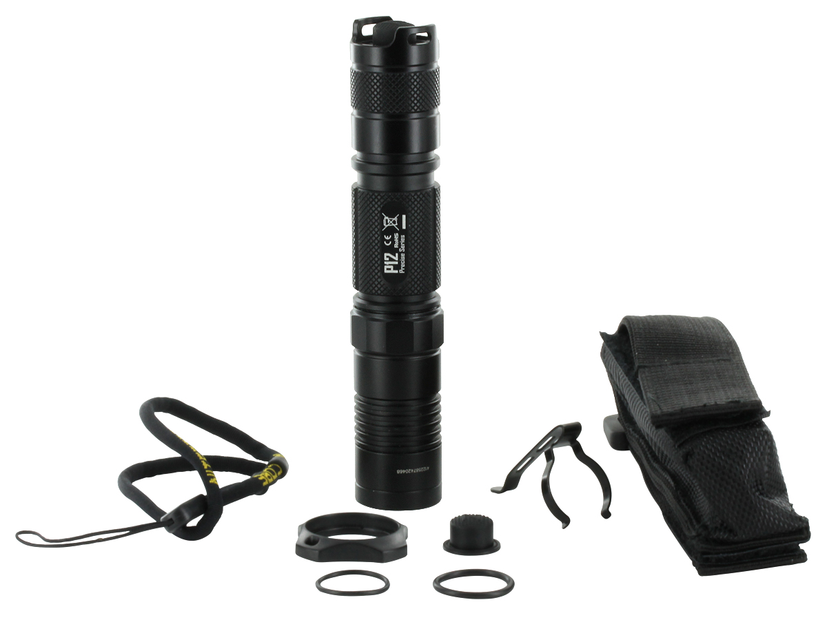 Nitecore P12 Comes With Nylon Holster, Lanyard, Pocket Clip, Tactical Cigar Ring, Spare Tailcap Boot, and Spare O-Rings