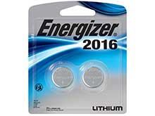 Energizer ECR2016 BP (2PK) 100mAh 3V Lithium (LiMNO2) Coin Cell Batteries - 2 Pack Blister Wide Card