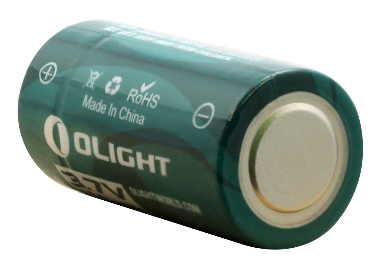 Bottom view of the 16340 rechargeable battery