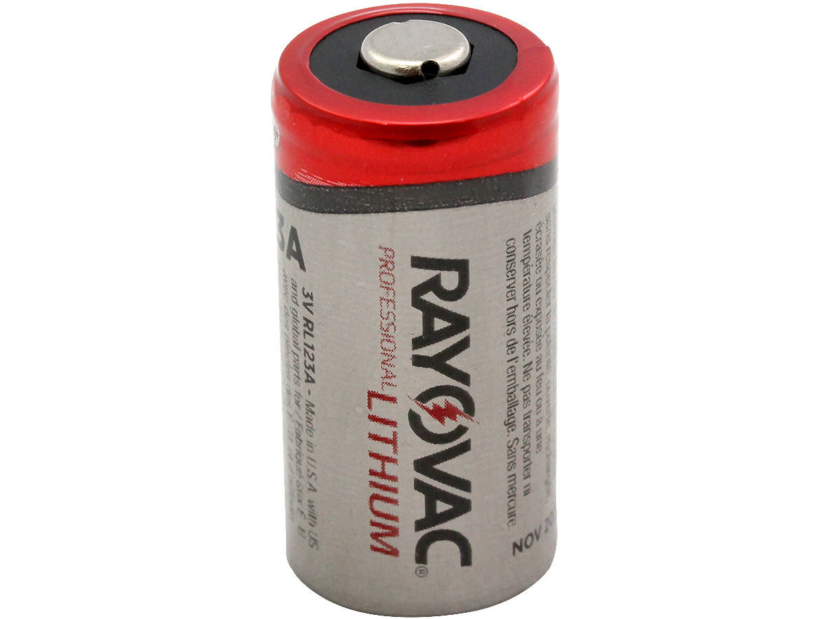 Standing Shot of  Rayovac CR123A Lithium Photo Battery
