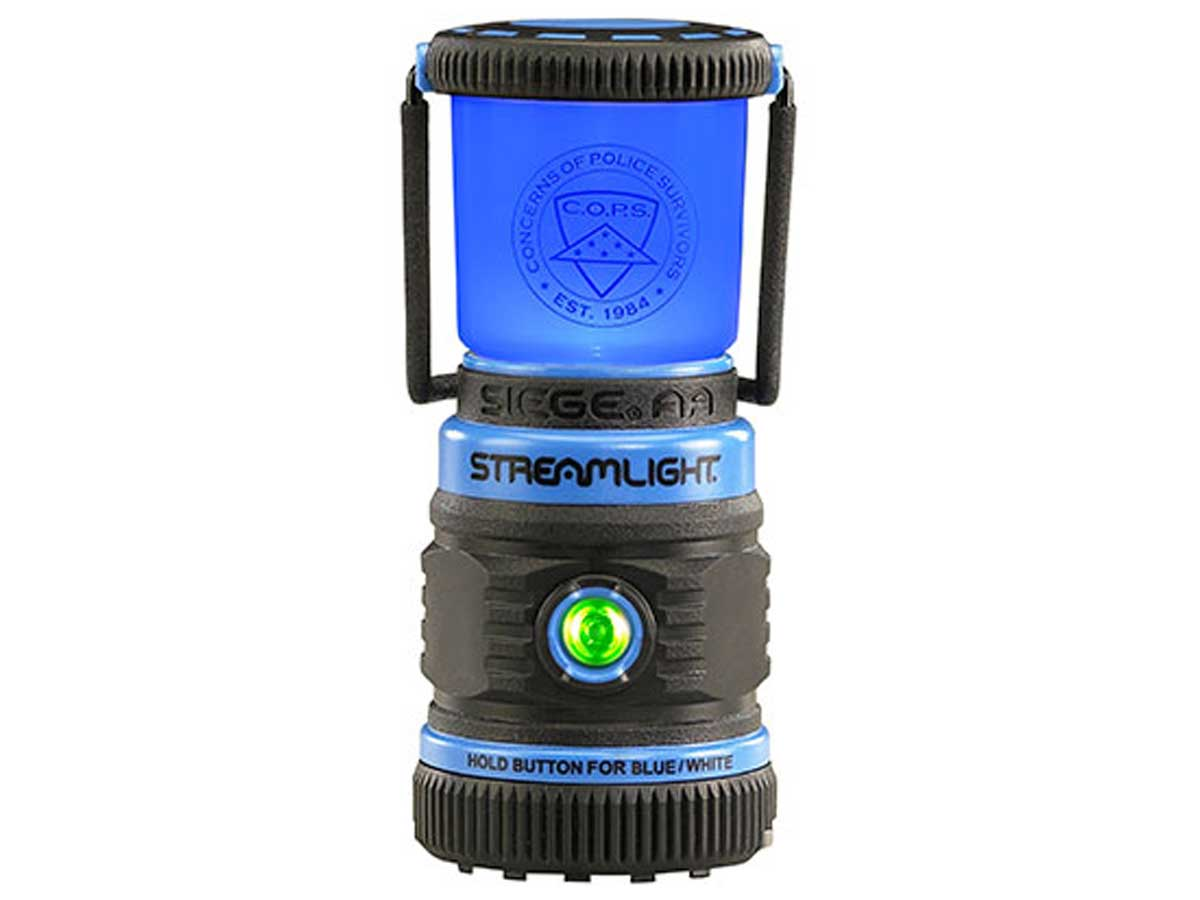 Streamlight lantern with the blue LEDs on and a green status light