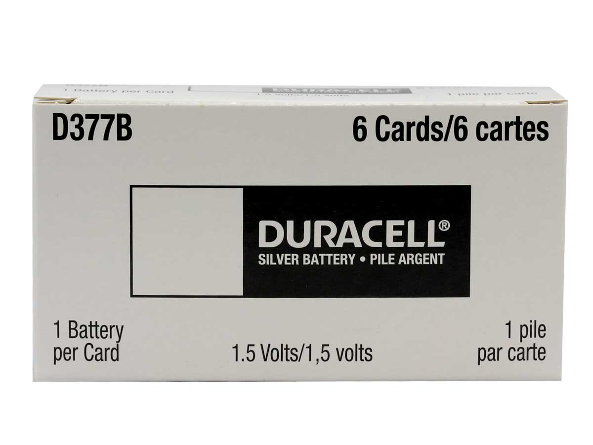 Duracell D377 button cell in case