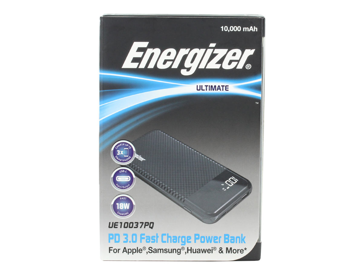 energizer ue10037pq power bank black- front of retail package
