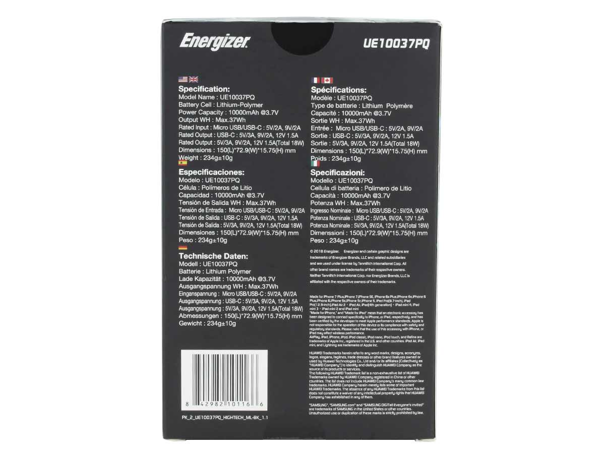 energizer ue10037pq power bank black - back of package with different country's specifications and translations
