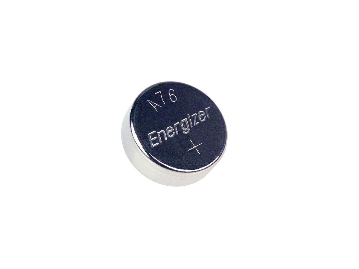 Single front view of Energizer A76 coin cell
