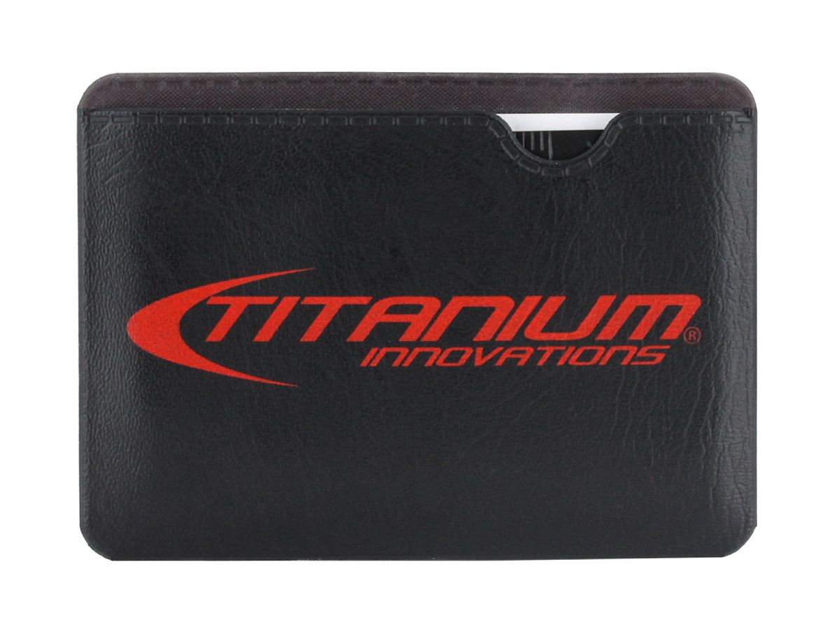 Titanium Innovations Survival Card Tool in black with packaging