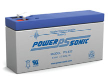 Power-Sonic PS-832 3.2AH 8V Rechargeable Sealed Lead Acid (SLA) Battery - F1 Terminal