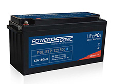 Power-Sonic PSL-BTP-121500 Blue Tooth Enabled 150AH 12.8V Rechargeable Lithium Iron Phosphate (LiFePO4) Battery - M8 Terminals