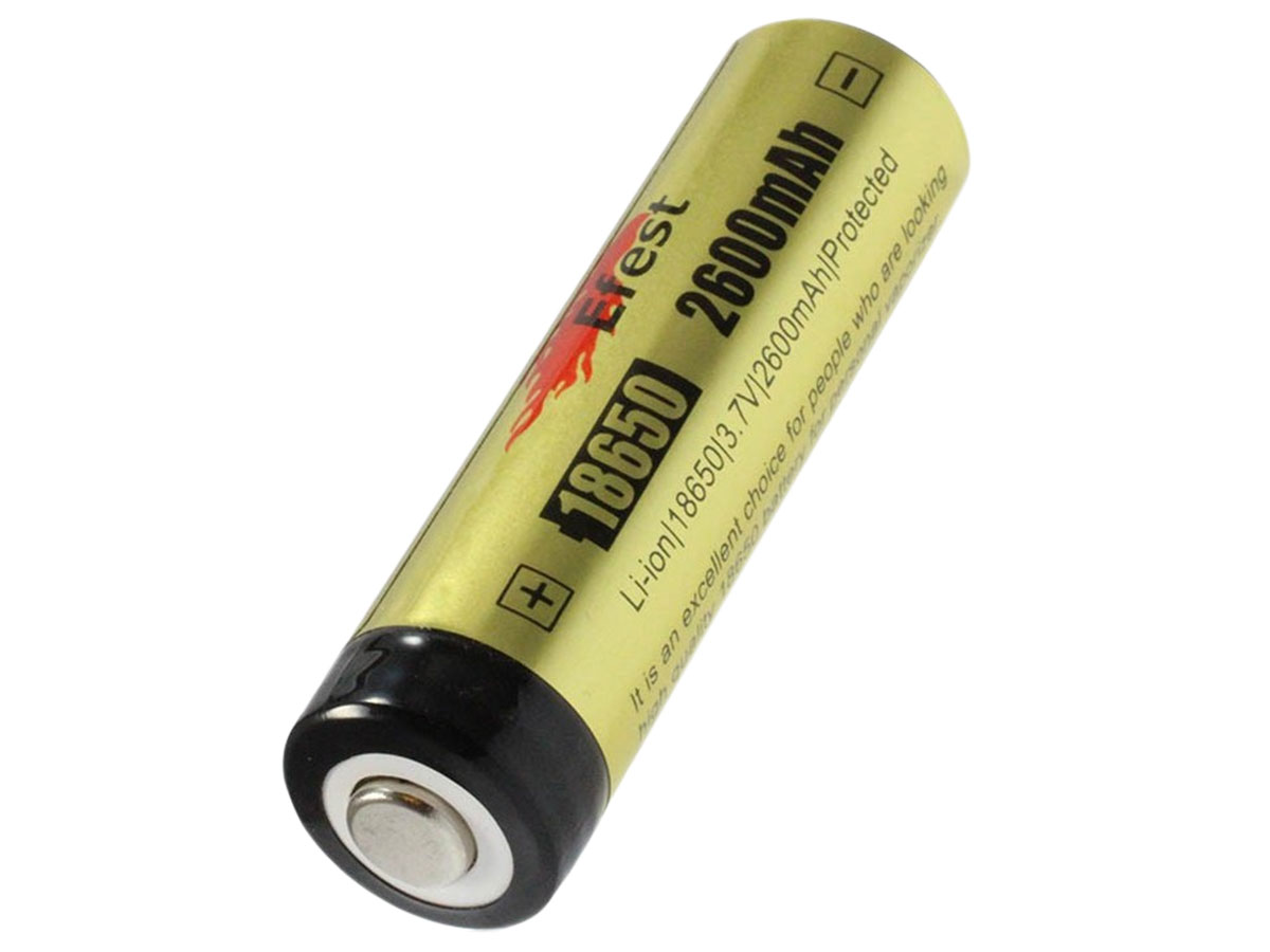 Efest 3405 18650 protected button top battery side angle