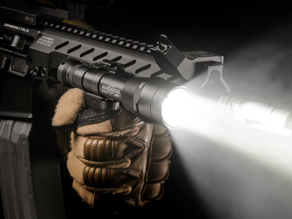 Flashlight mounted on a weapon