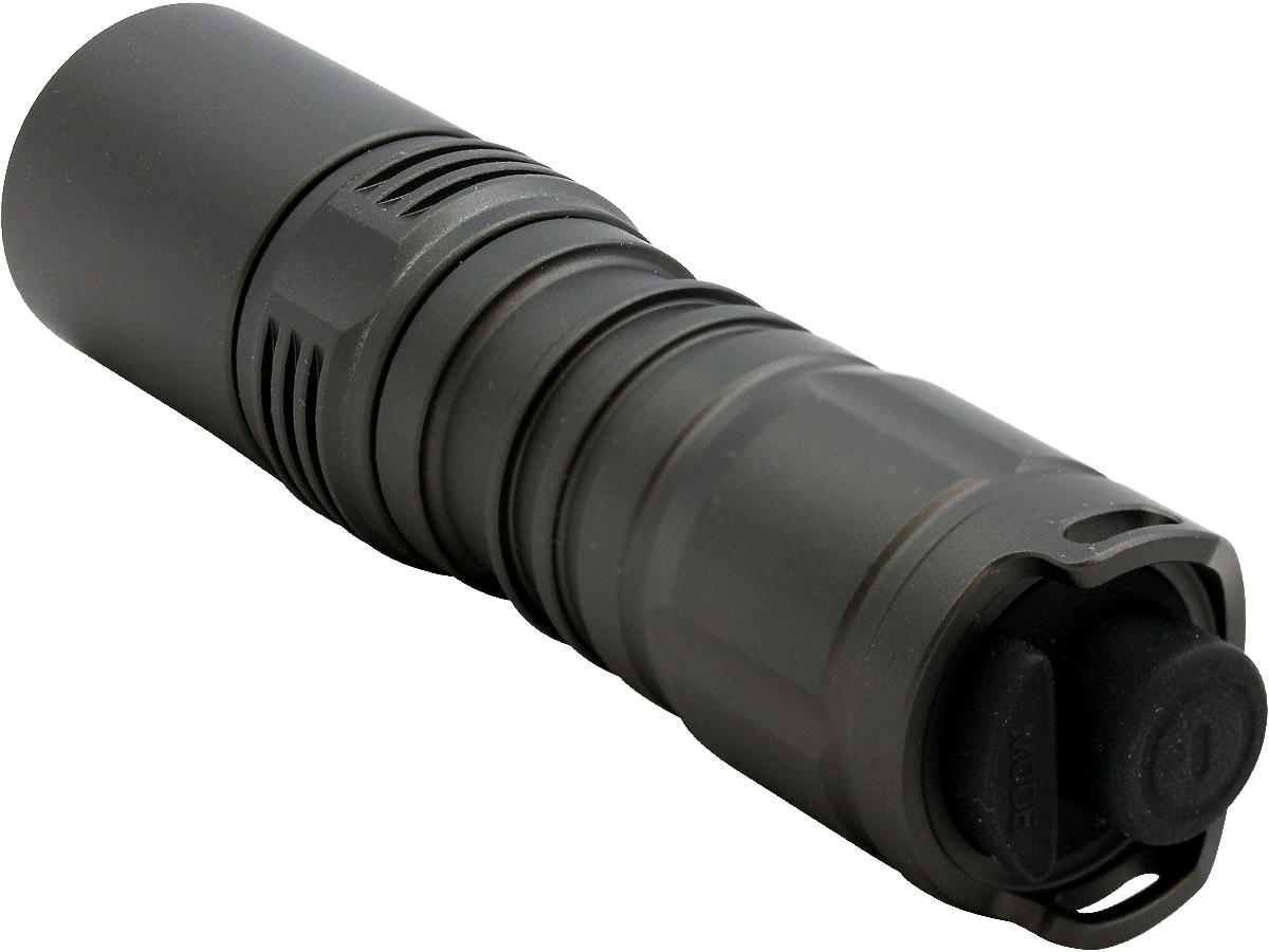 Tailcap Shot of the TT-1 LED Tactical Flashlight