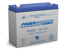 Power-Sonic PS-4100 10AH 4V Rechargeable Sealed Lead Acid (SLA) Battery - F1 Terminal