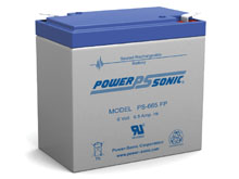 Power-Sonic PS-665 6.5AH 6V Rechargeable Sealed Lead Acid (SLA) Battery - FP Terminal