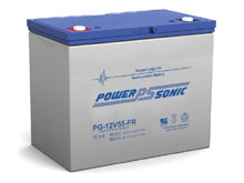 Power-Sonic PG-12V55 FR 56AH 12V Long-Life Rechargeable Sealed Lead Acid (SLA) Battery - B Terminal