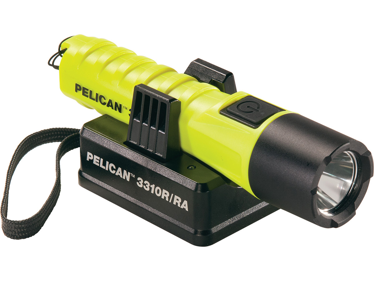 pelican rechargeable flashlight on the charger