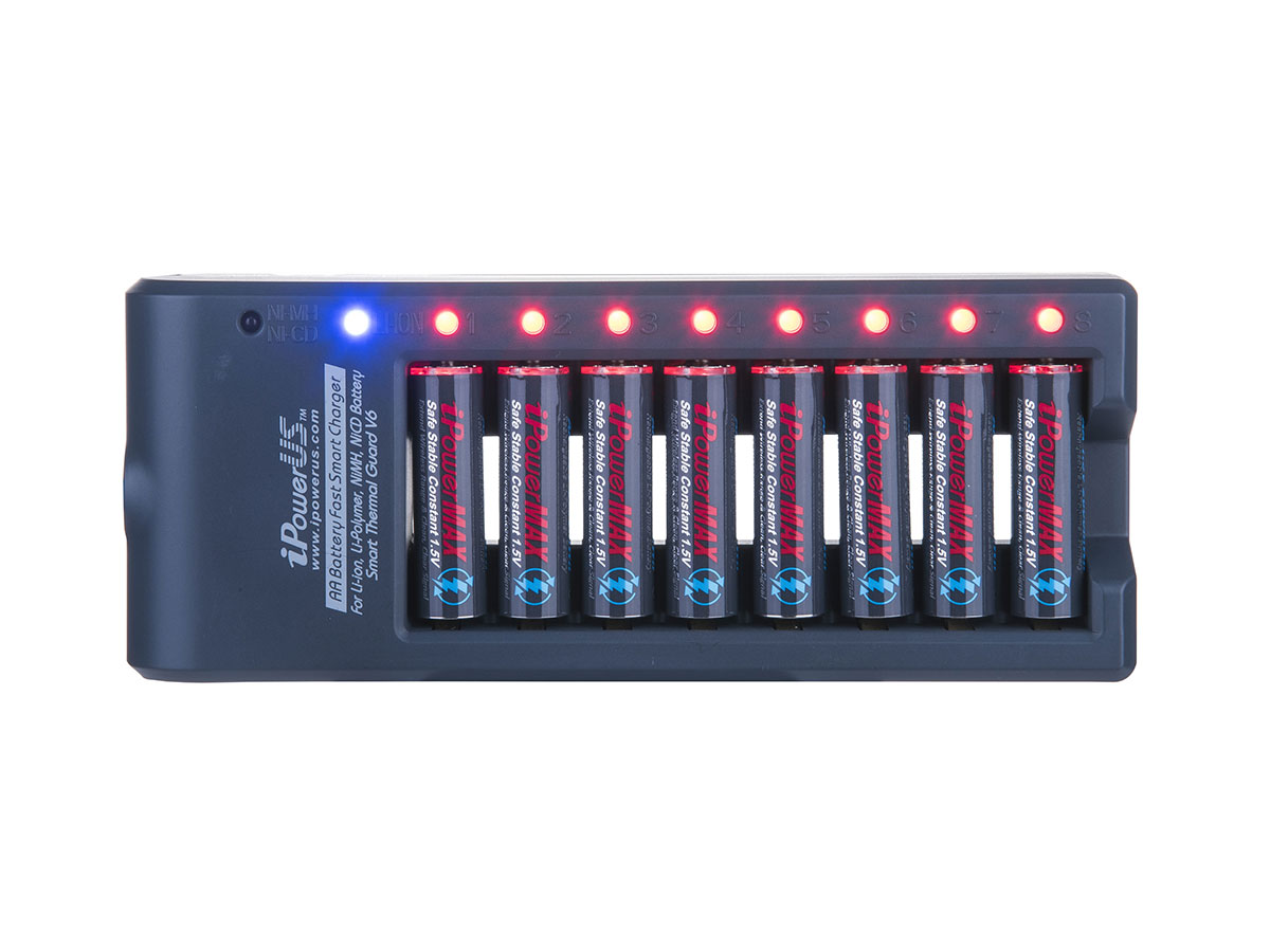 iPower 8-Bay Charger Shown with Power Cords