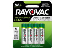 Rayovac Rechargeable Plus PL715-4 AA 2400mAh 1.2V Nickel Metal Hydride (NiMH) Button Top Batteries- 4 Piece Retail Card