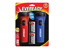 Energizer LED Economy Flashlight Twin Pack - 25 Lumens -Uses 1 x D Battery (Includes 2 D Cells) - EVEL152S