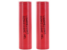 BUNDLE: 2 x LG HE2 ICR 18650 2500mAh 3.6V Unprotected High-Drain 20A Lithium Ion (Li-ion) Flat Top Batteries