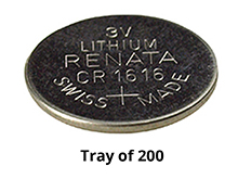 Renata CR1616 3V Coin Cell Batteries Lithium (Li-MnO2) - Tray of 200