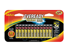 Energizer Eveready Gold A92-BP-24 AAA 1.5V Alkaline Button Top Batteries - 24 Piece Retail Card
