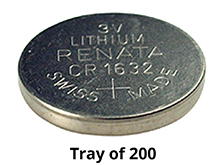 Renata CR1632 3V Coin Cell Batteries Lithium (Li-MnO2) - Tray of 200