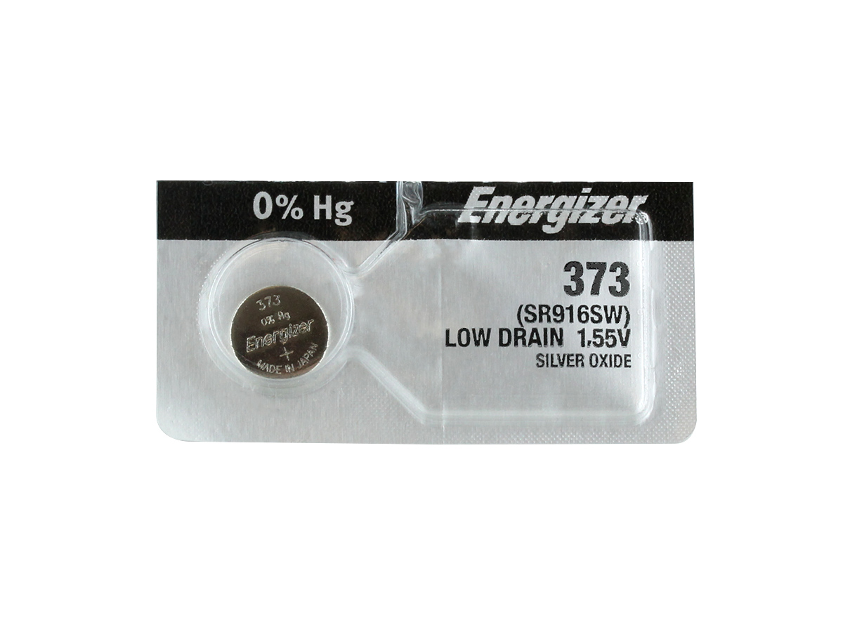 Energizer 373 coin cell in tear strip packaging