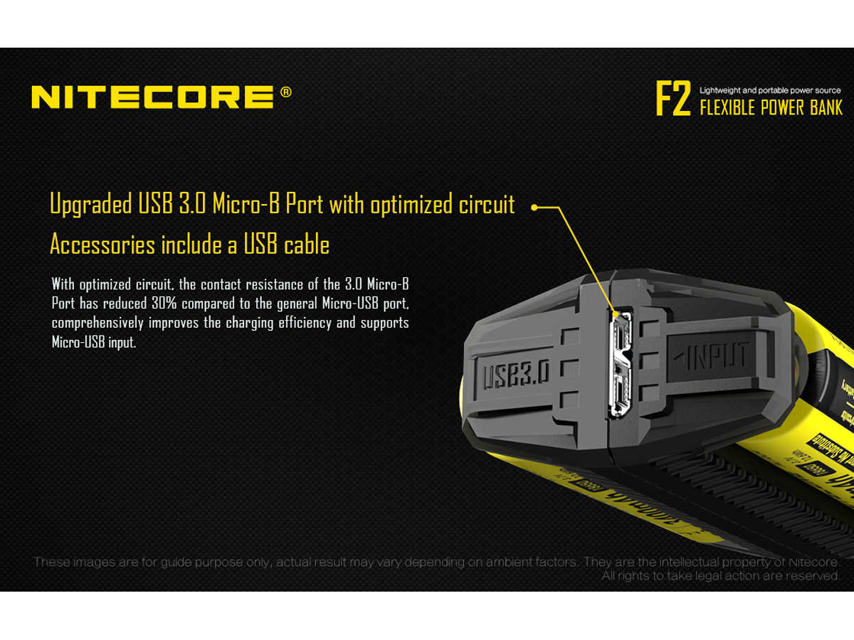 Slide about the USB 3.0 Micro B Power Input for the Nitecore F2 Power Bank