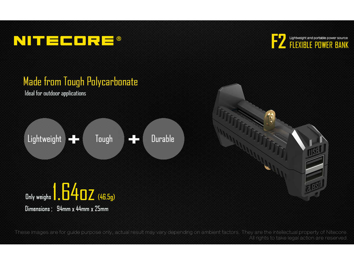 Slide about the materials and size of the Nitecore F2 Power Bank