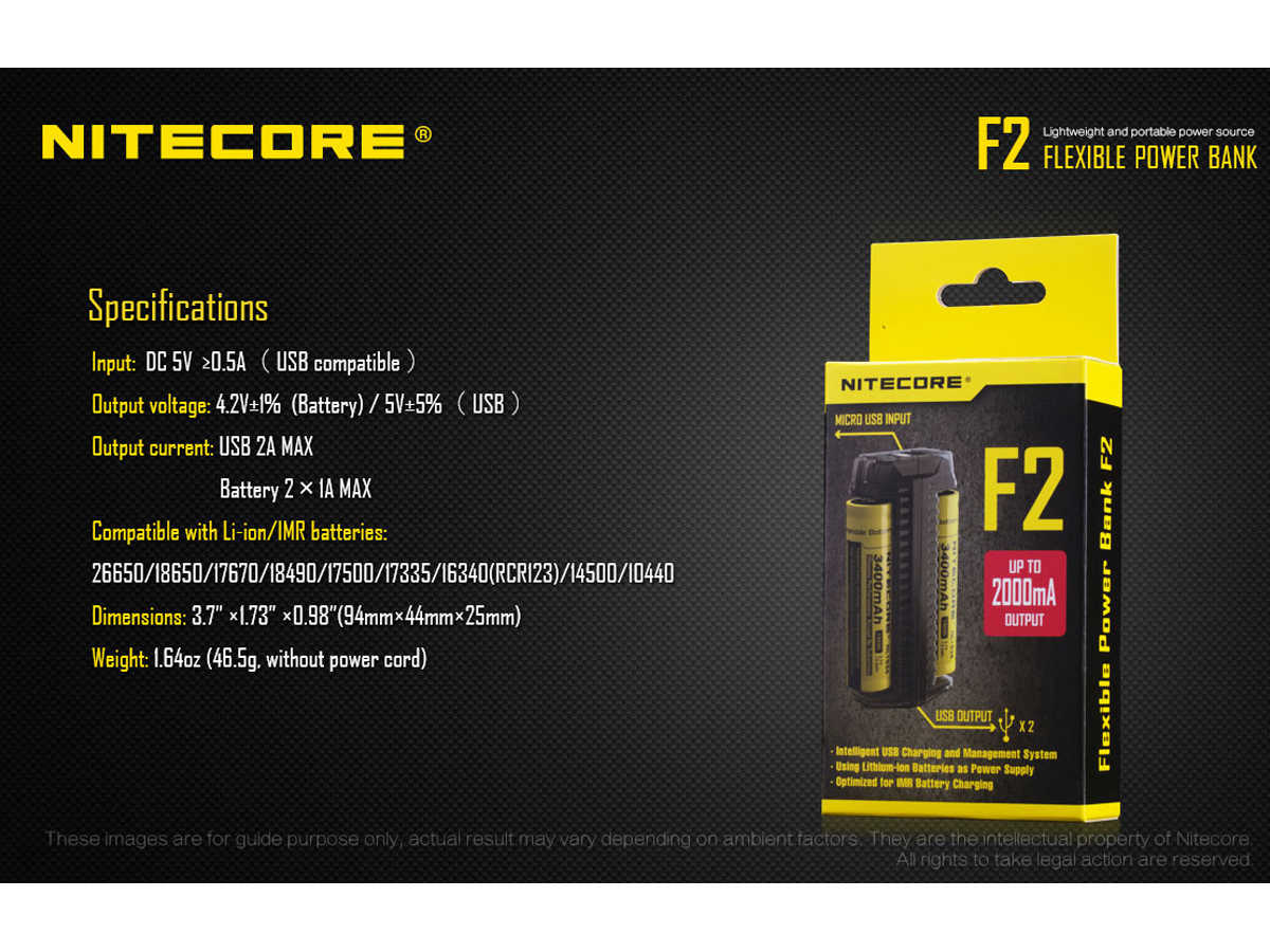 Slide about the Specifications for the Nitecore F2 Power Bank