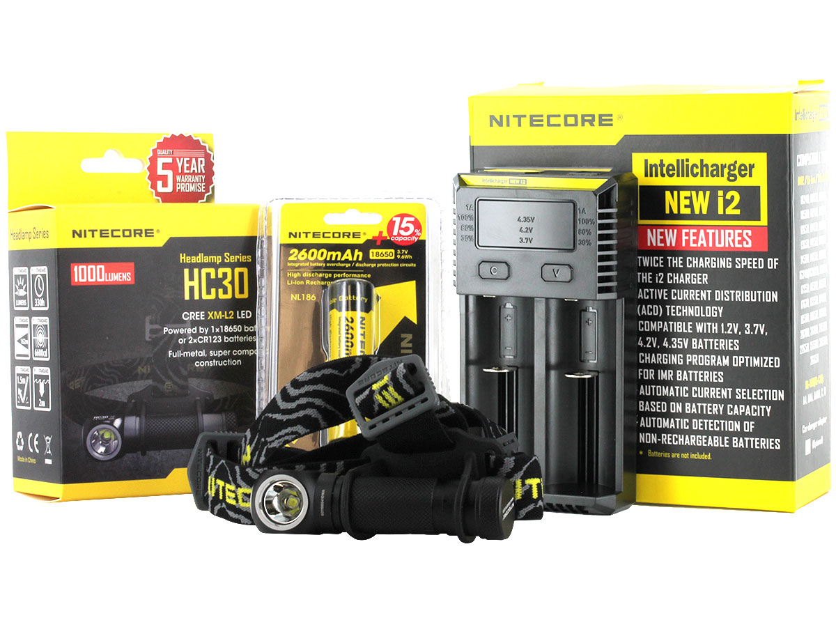 Nitecore HC30 headlamp with battery and i2 charger