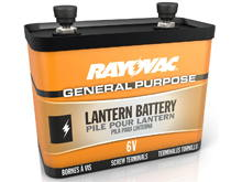 Rayovac 918C 12400mAh 6V Zinc Chloride (ZnCl) Lantern Battery with Screw Terminals - Bulk
