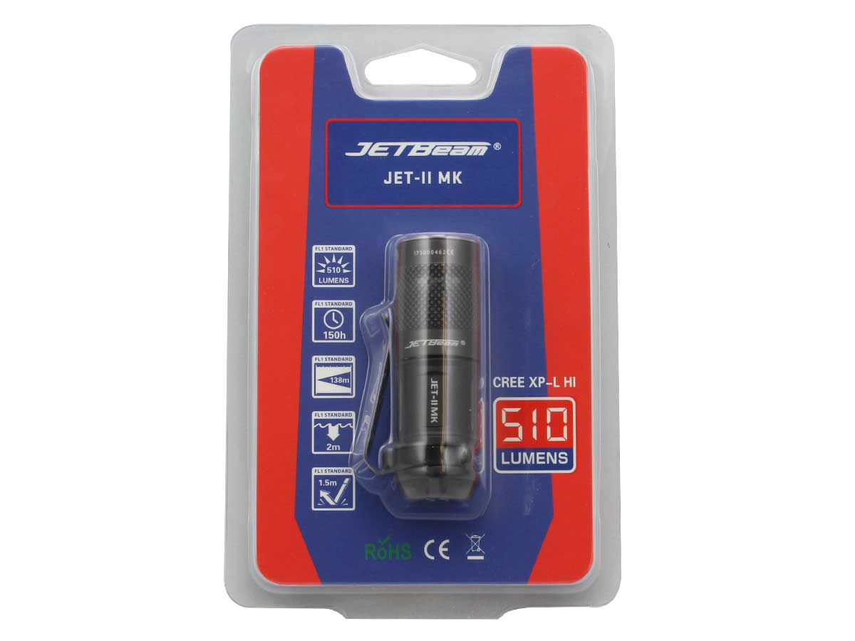 Packaging for JETBeam JET-II MK flashlight