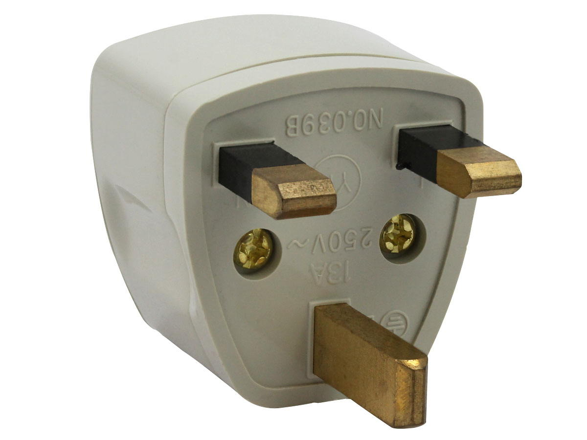 Plug of White UK Plug Adapter Grounded Type G SS414