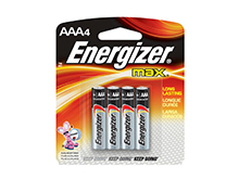 Energizer Max E92-BP-4 AAA 1.5V Alkaline Button Top Batteries - 4 Piece Retail Card