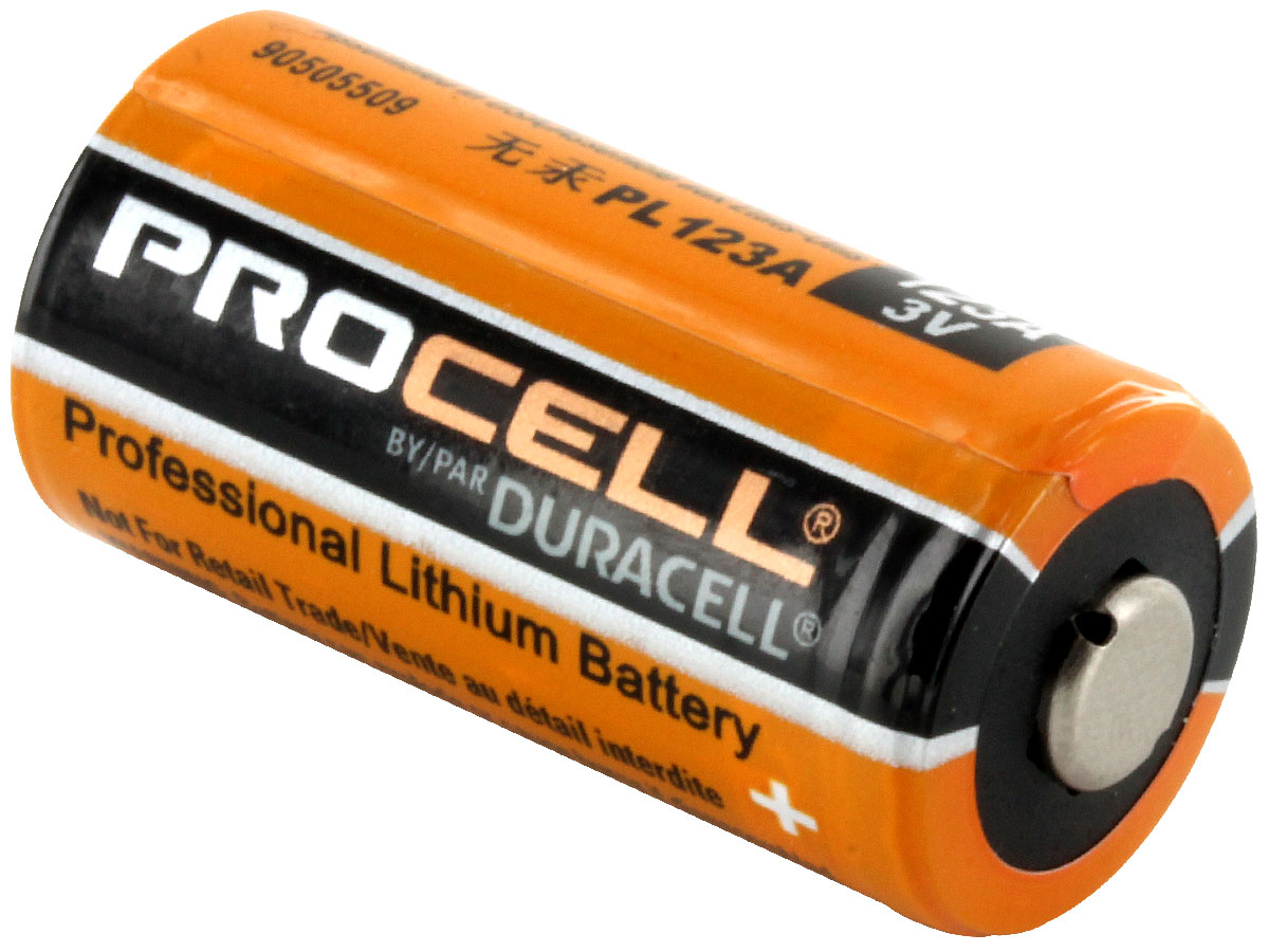 Duracell Procell CR123A battery side angle