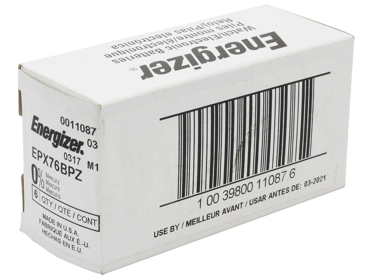 Box for bulk orders of Energizer EPX76 watch batteries