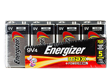 Energizer Max 522FP-4 9V Alkaline Battery with Snap Connector - 4 Piece Family Pack