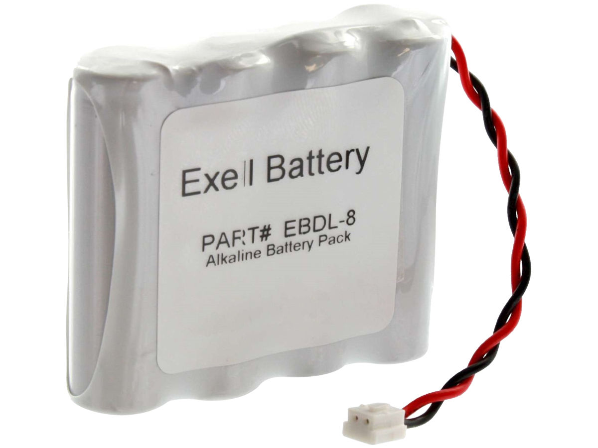 Front of the Exell EBDL-8 Door Lock Battery Pack