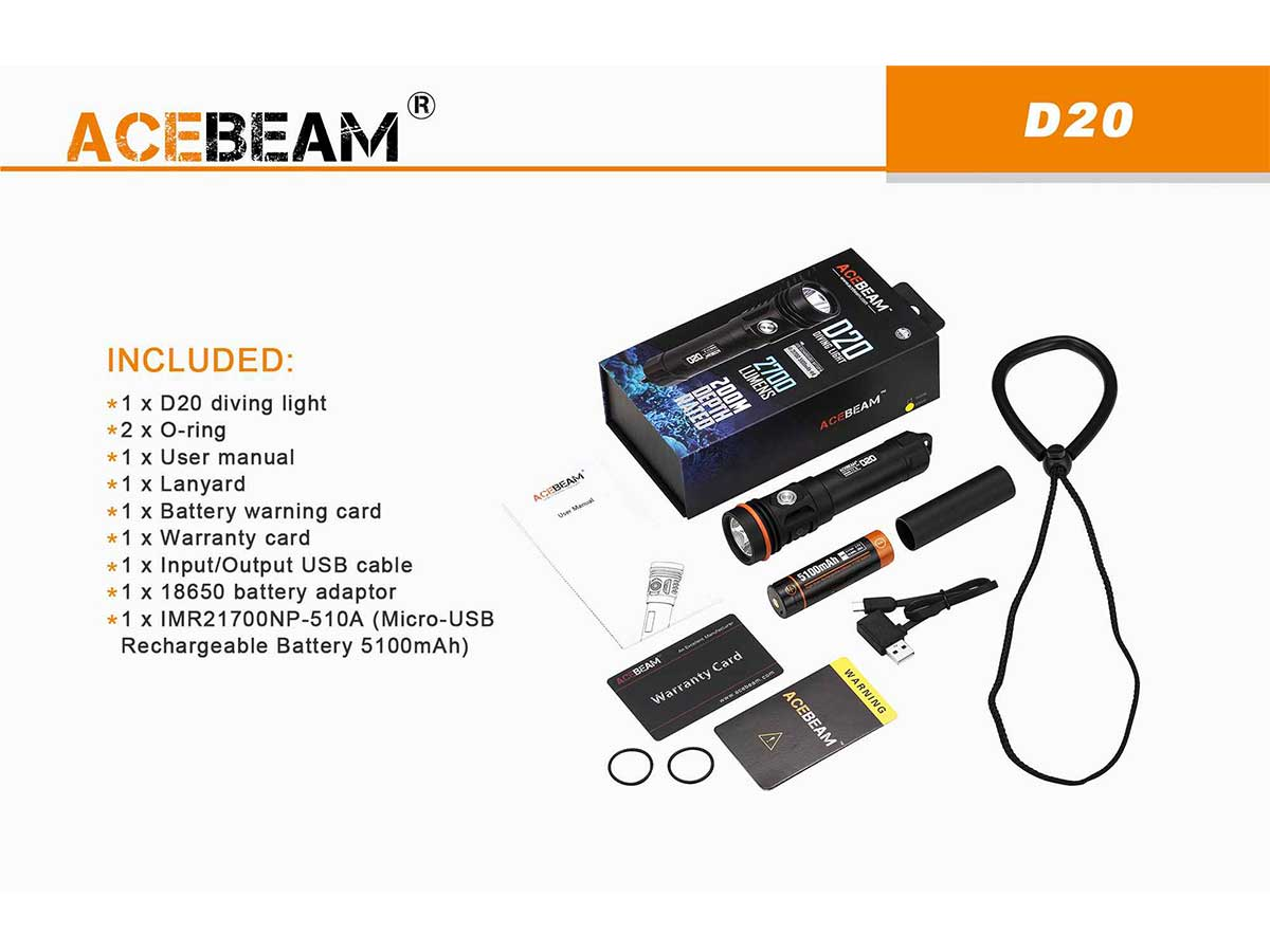 Acebeam D20 package contents