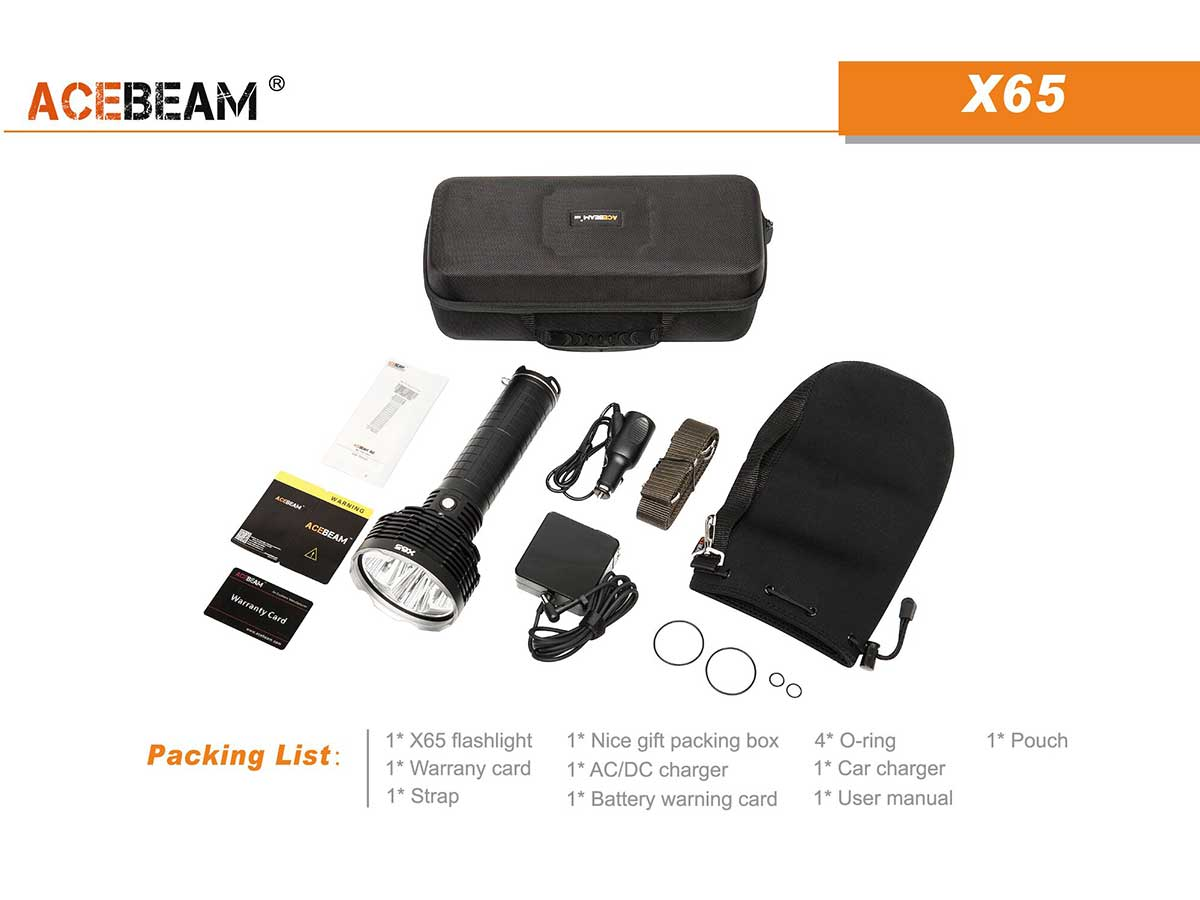 Acebeam X65 package contents
