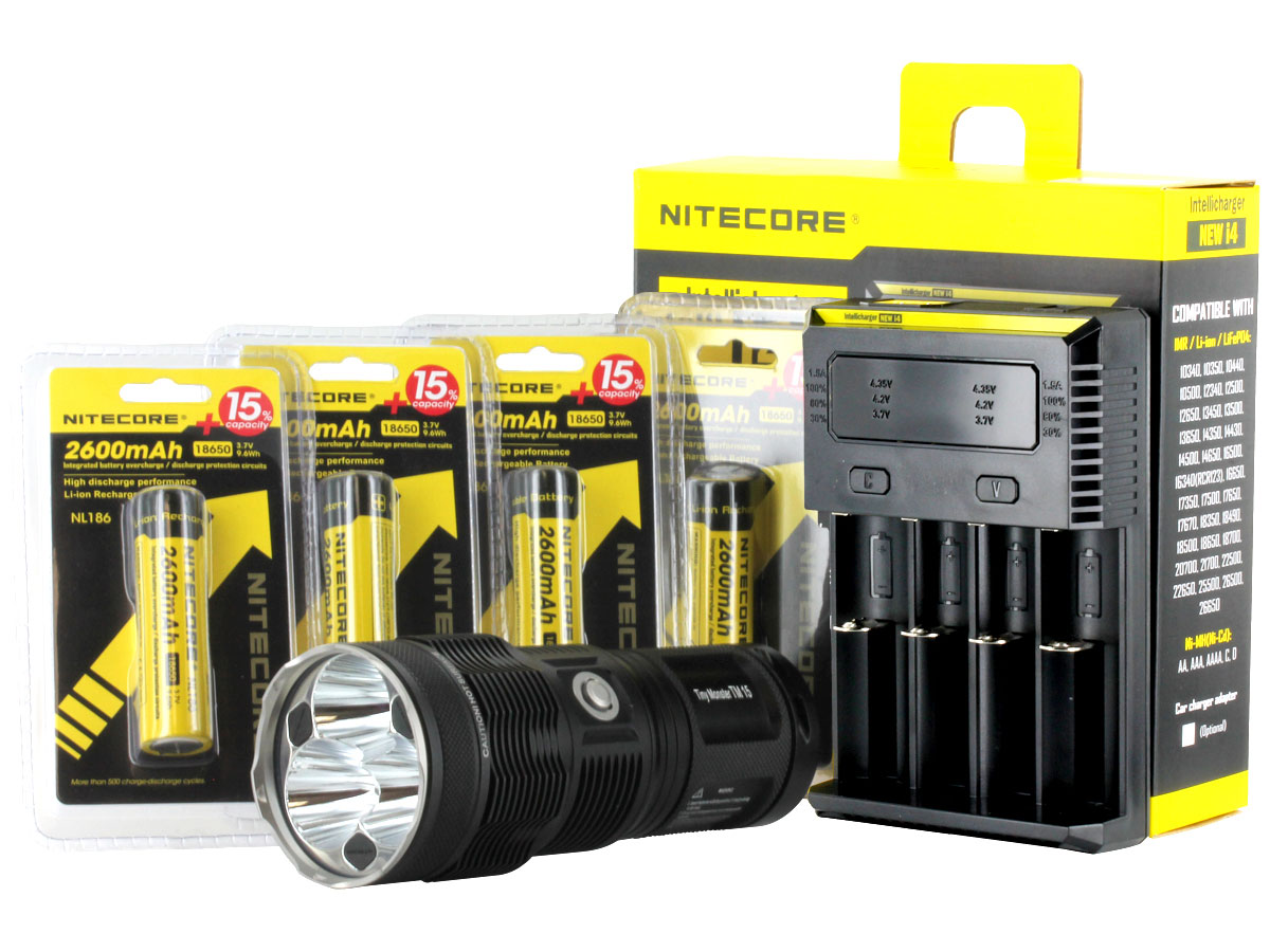 Nitecore TM15 flashlight with batteries and i4 charger