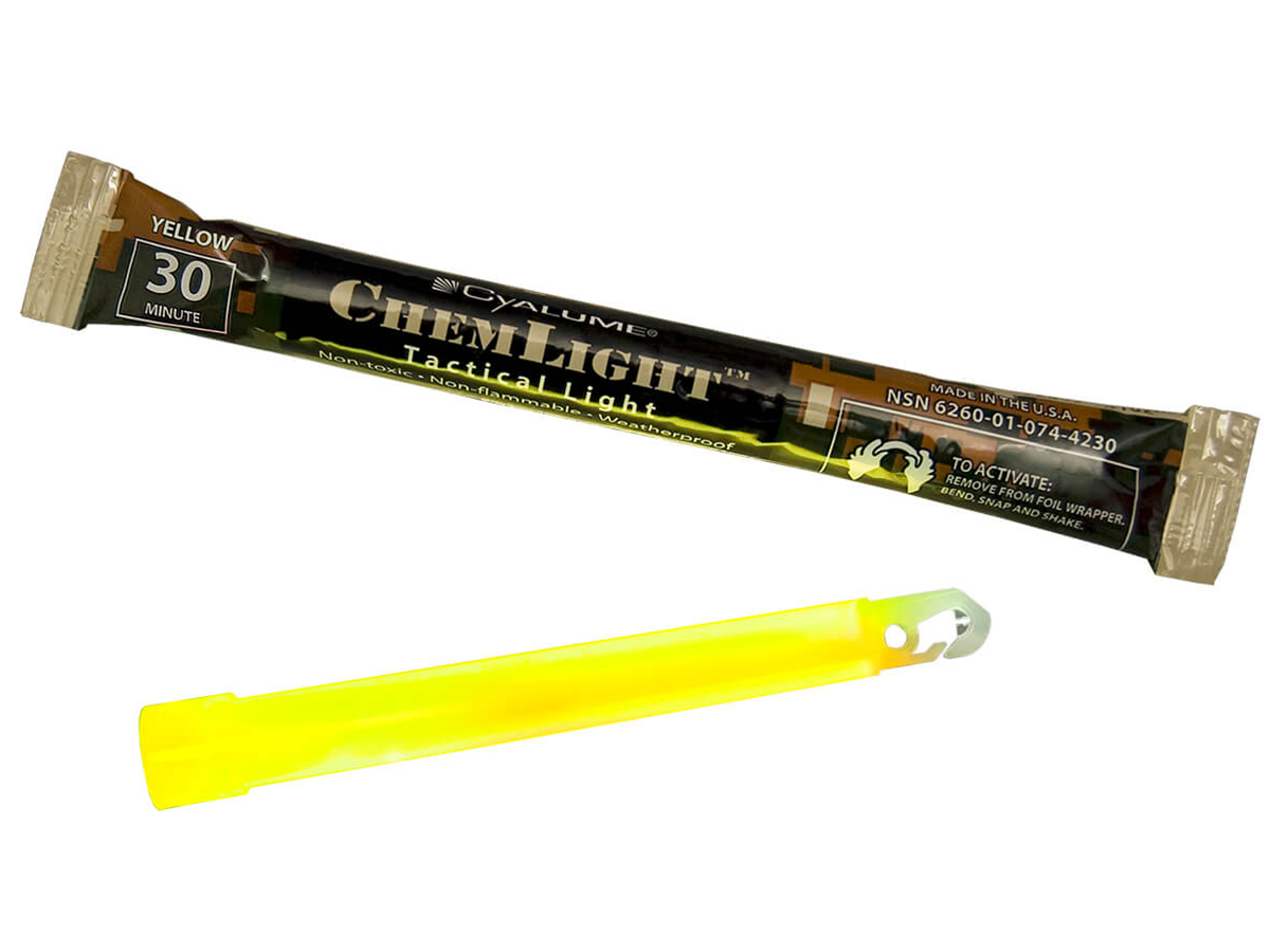 Close up of Cyalume 6inch Chemlight in yellow