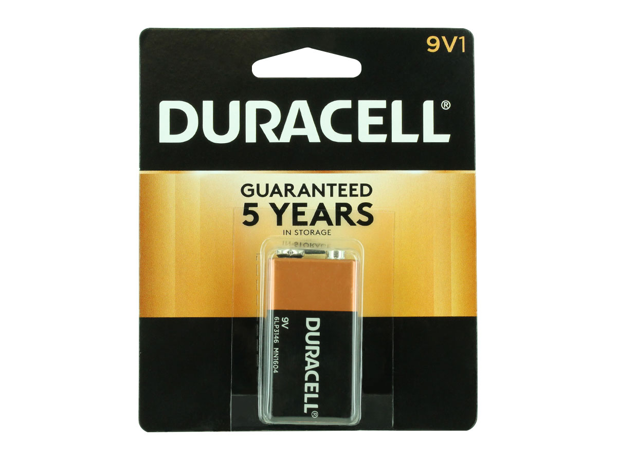 Duracell Coppertop 9V battery in retail card