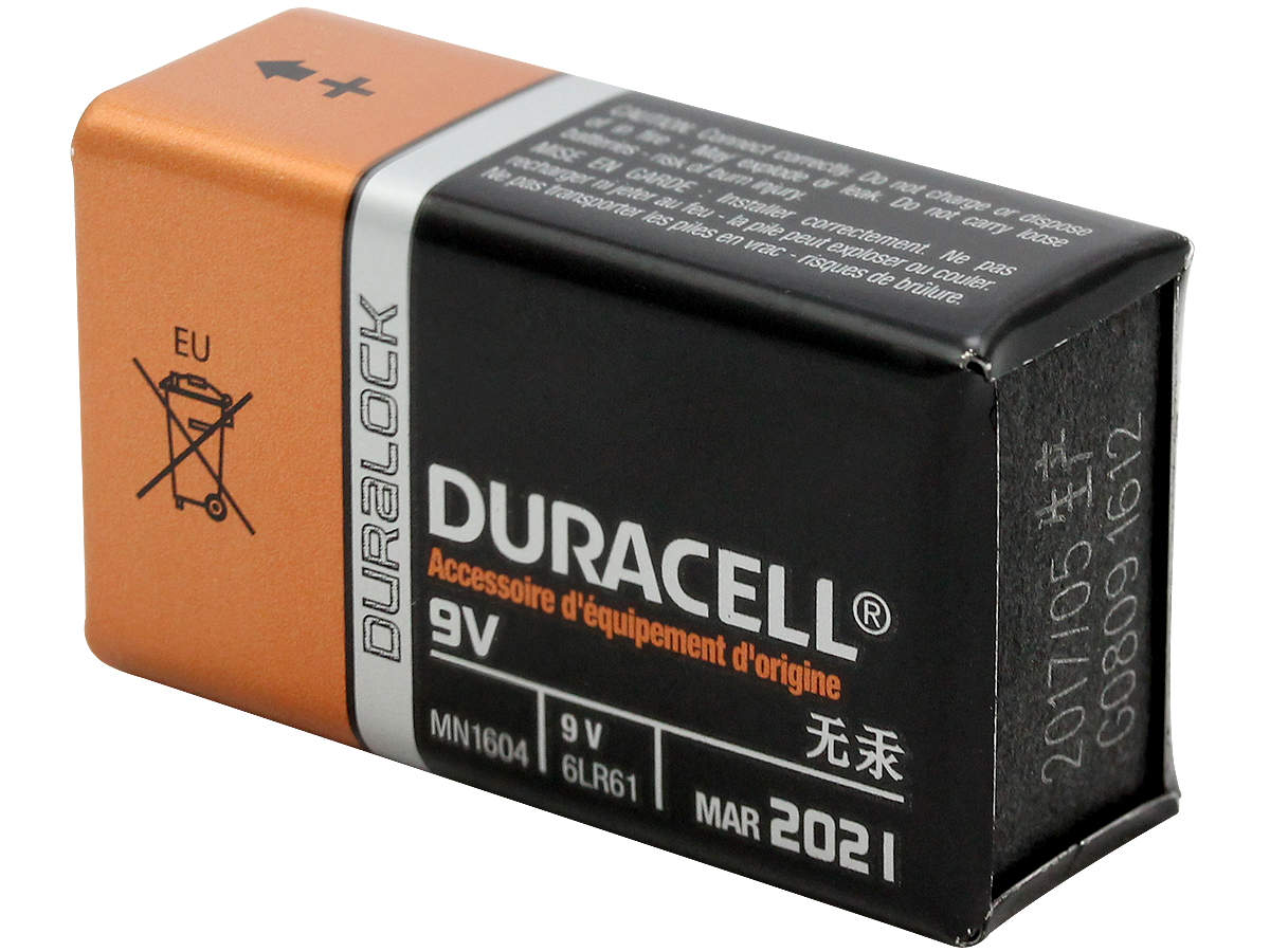 Duracell Coppertop 9V battery back side angle