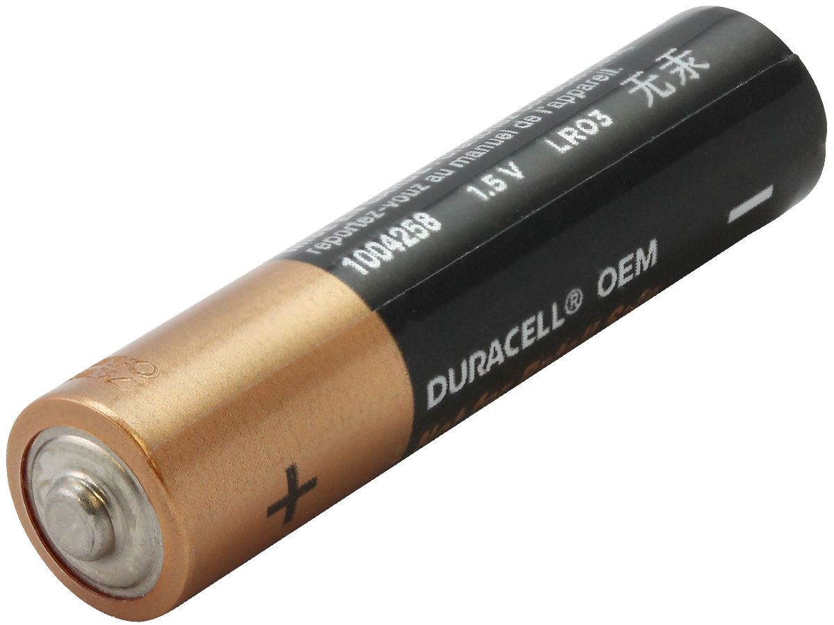 Angle Shot of the Duracell MN2400 AAA Battery