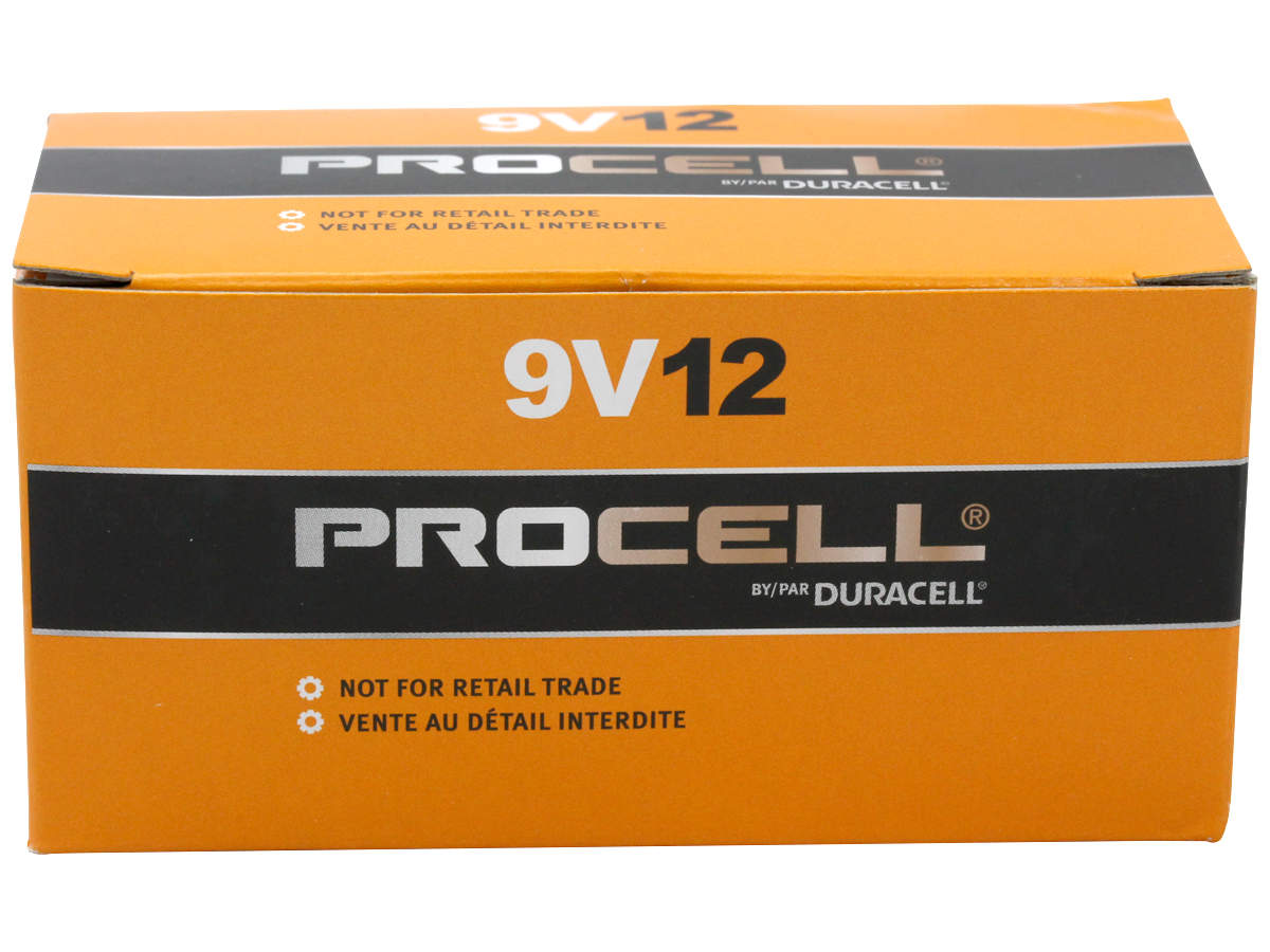 Duracell Procell 9V batteries in box with closed lid