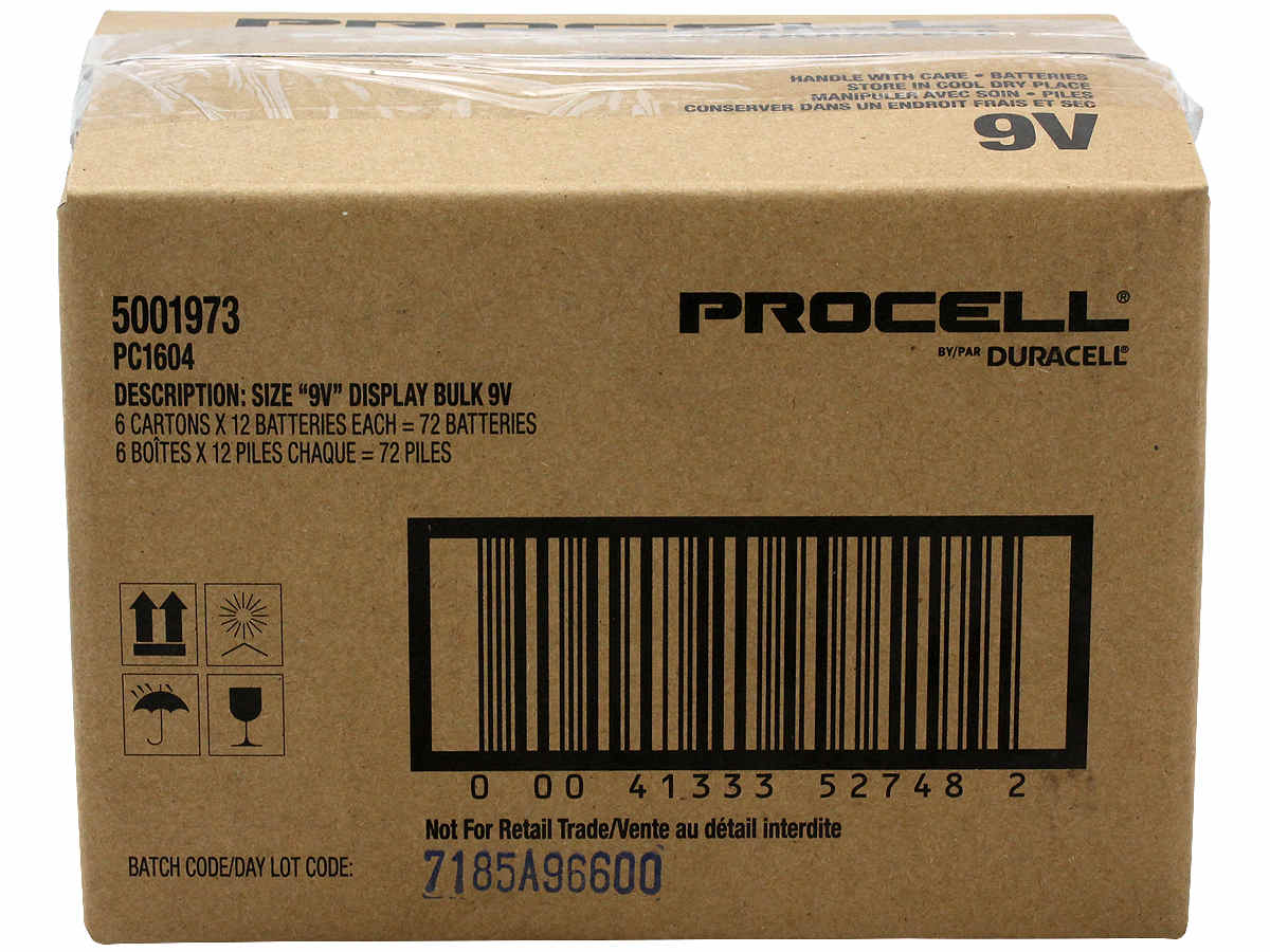 Shipping container for Duracell Procell 9V batteries
